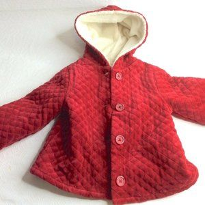 GYMBOREE Red Quilted Sherpa Lined Coat 5T